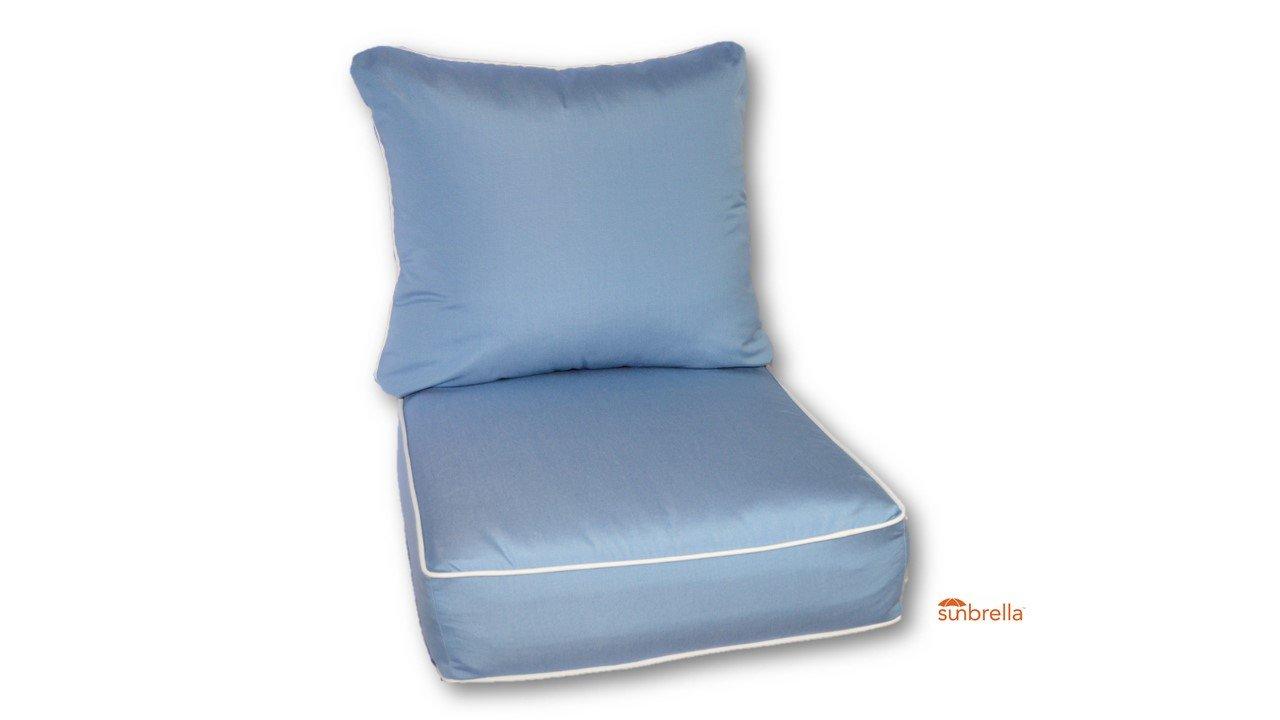Resort Spa Home Decor Sunbrella Canvas Air Blue w/White Cording Cushion Set for Indoor/Outdoor Deep Seat Furniture Chair - Choose Size (24''w X 27''d)