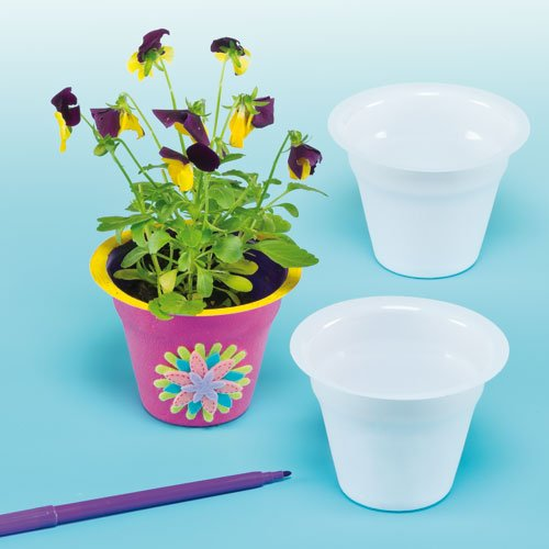 Baker Ross White Plastic Flower Pots   Size: 2.5 inches (6.5cm)   for Kids to Paint, Decorate & Plant with Flowers for Gifts (Pack of 10) ()
