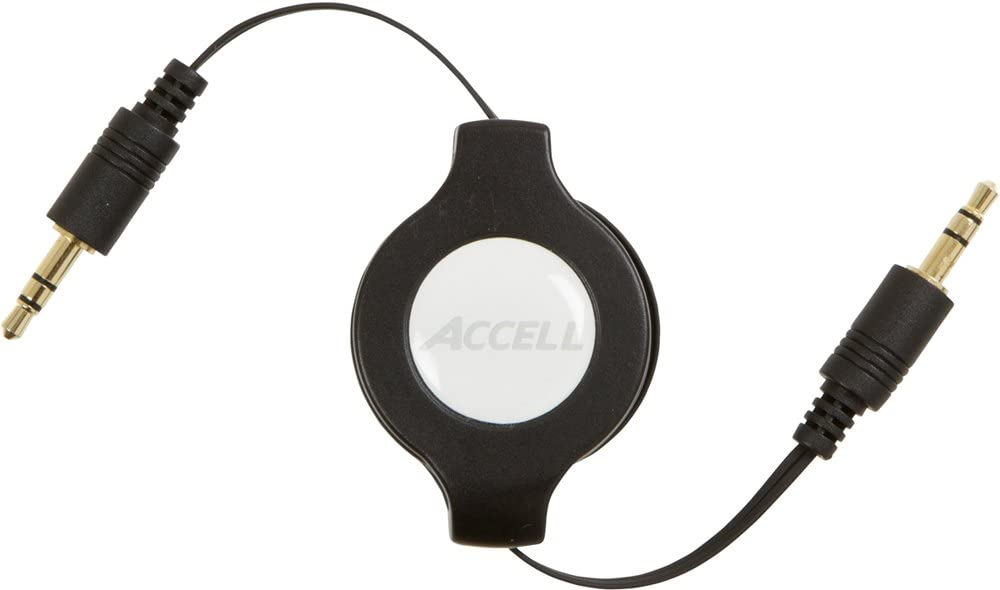 Male 4 Feet Black Male to 3.5mm Accell Retractable 3.5mm Audio Cable 3.5mm