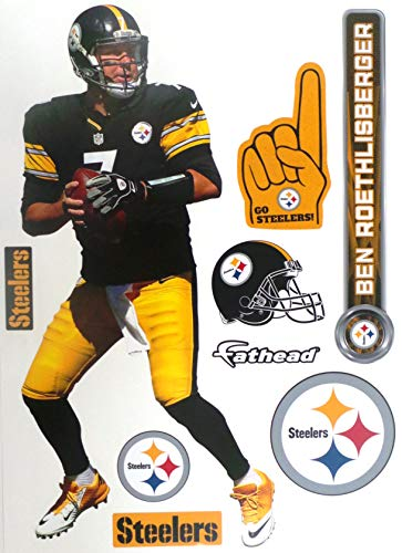 FATHEAD Ben Roethlisberger Pittsburgh Steelers Logo Set Official NFL Vinyl Wall Graphics 16