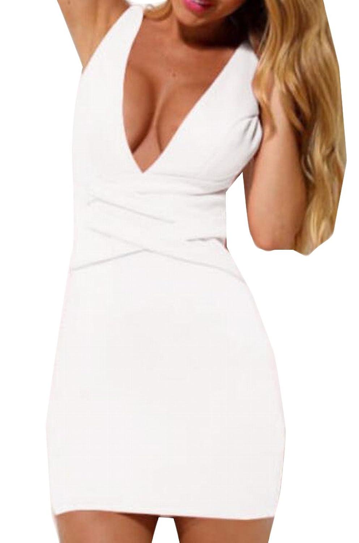 YUNY Women's Bodycon Bandage Sexy Deep V-Neck Club Dresses