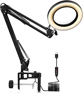 Magnifying Glass LED Lamp, NEWACALOX Adjustable 5X Magnifier Desk Lamp with 3 Colors Illuminated USB Magnifying Lamp with Adjustable Swivel Arm for Reading Rework Craft Or Workbench
