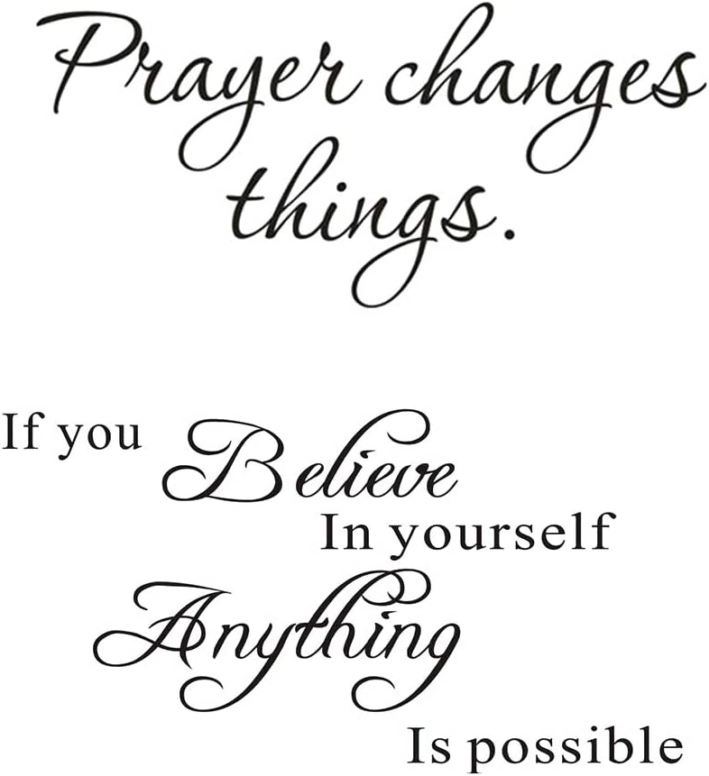 LZYMSZ Large 'Prayer Changes Things' Wall Decor Stickers and 'Believe in Yourself' Wall Art Decals, 2 Set Vinyl DIY Words Letters Removable Inspirational Quotes Home Decoration for Living Room