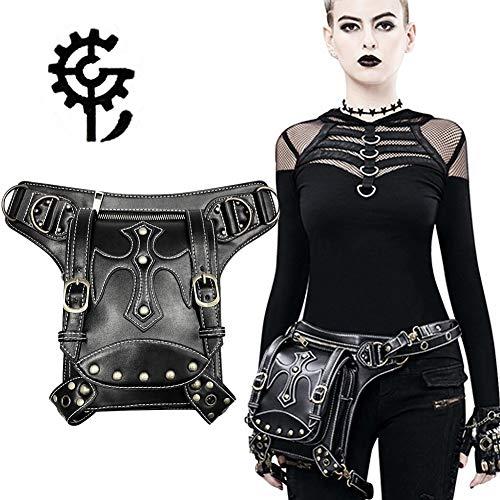 Messenger Bag Shoulder Bag Black Leather Handbag Crossbody Adjustable Shoulder Strap Retro Rock Style Suitable for Men and Women Waterproof (Sex Pistols Black Leather)