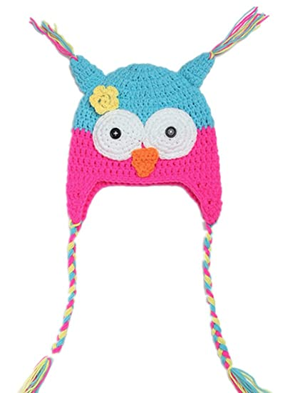 Kafeimali Children s Baby Winter Caps Crochet Earflap Beanie Knit Cartoon  Big Eyes Owl Hats (Blue dcd625c20720