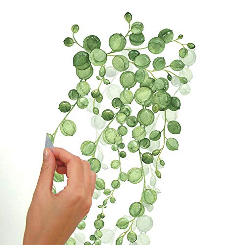RoomMates RMK3903SCS String Of Pearls Vine Peel And Stick Wall Decals, Green, White, 2 Sheets at 9 Inches x 36.5 Inches 3