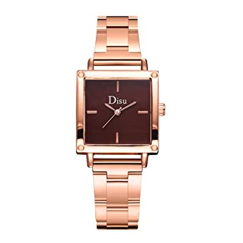Disu Fashion Quartz Watch Square Dial Steel Strip Reloj Mujer ...