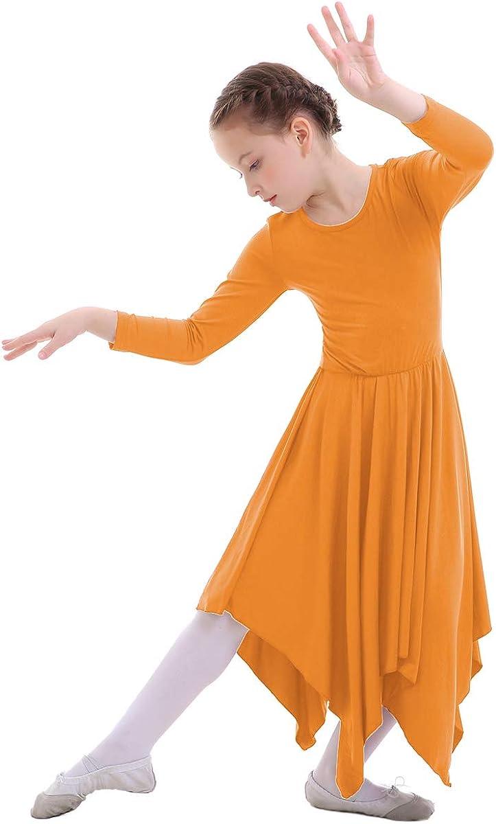IWEMEK Kid Girls Liturgical Praise Lyrical Dance Loose Fit Long Sleeve Ruffled Dress Irregular Hem Soft Plain Dancewear Worship Costume 3-14 Years