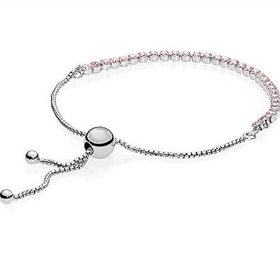 2695e7249 Amazon.com: Pink Sprakling Strand Bracelet Clear CZ 590524PCZ: Jewelry