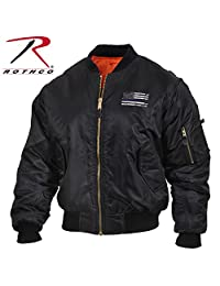 Rothco Thin Blue Line Flag MA-1 Flight Jacket, Police Support, Black