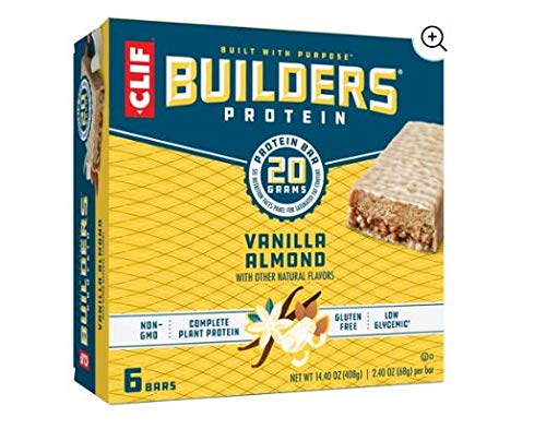 Clif Builder s Bar, 20 Grams of Protein, 2.4 Oz Vanilla Almond, 24 Count