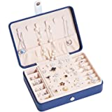 SZTulipジュエリーボックス アクセサリーケース 大容量 収納ケース レディース 小物入れ 宝石箱 旅行 携帯用 (ダークブルー)