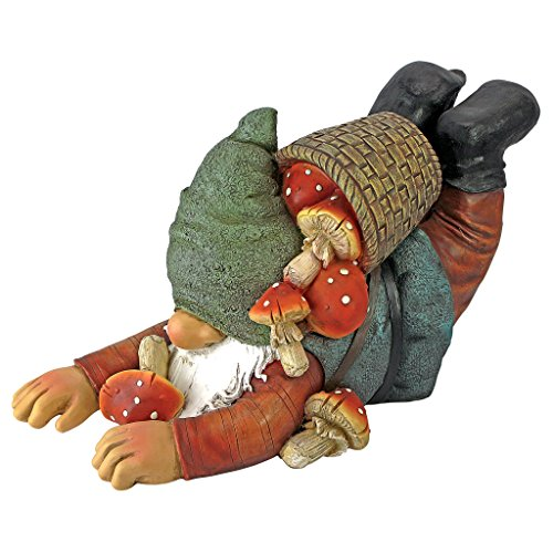 Design Toscano Garden Gnome Statue - Clumsy Karl the Mushroom Hunter Garden Gnome - Lawn Gnome