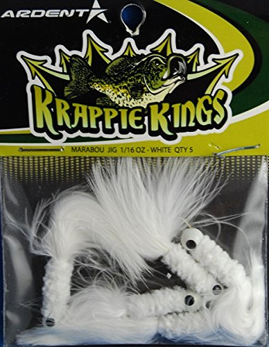 Krappie Kings Crappie/Panfish Marabou Jig Head, White, 30 Lures, 1/16 oz