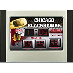 Team Sports America Chicago Blackhawks Scoreboard Style Desk Clock & Thermometer