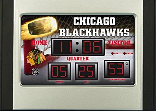 (Team Sports America Chicago Blackhawks Scoreboard Style Desk Clock & Thermometer)