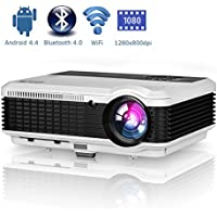 Android Bluetooth LCD Projector WXGA HD 1080p Support 3600 Lumen Wifi Smart LED Home Theatre Projector Airplay Miracast Wireless for iPhone Smartphone, Multimedia HDMI USB Audio for Outdoor Indoors