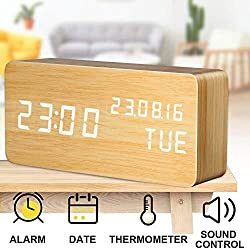 Alarm Clock, LED Wood Digital Clocks with Time Date Week Temperature Voice Control 12/24 Hours and Backup Battery USB Modern Wooden Desk Clock Suitable for Your Kids Heavy Sleepers Bedrooms Travel