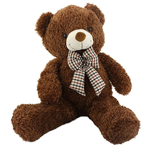 Wewill Giant Huge Cuddly and Softly Stuffed Animals Plush Teddy Bear with Bow-knot for Valentine's Day Birthday Children's Day Christmas Presents Gifts,32-Inch, Dark Brown