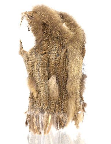 piel de de de pie Mujeres Natural con de punto Natural conejo 100 2 Uilor® Khaki chaleco cuello AX8IAq