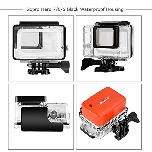 Husiway Accessory Kit for GoPro Hero 7 6 5 Black Waterproof Case Housing Silicone Protector Screen Film for Go pro Hero7 Hero6 Hero5 Bundle Set 57A