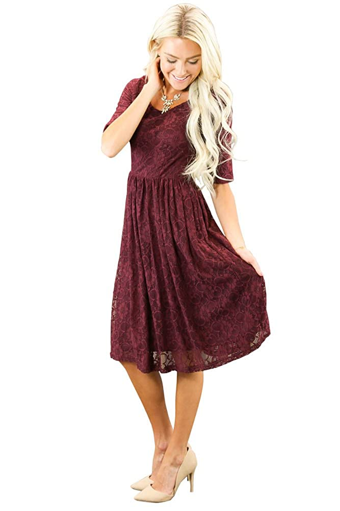 370aae8fb4ce Modest knee-length full lace dress with gathered elastic waist   half-sleeves.  Lace overlay is a perfect match to the lining.