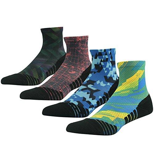 Lightweight Hiking Sock, HUSO Vintage Style High Performance Running Golf Socks for Men ,4 Pairs - Style Mens Running