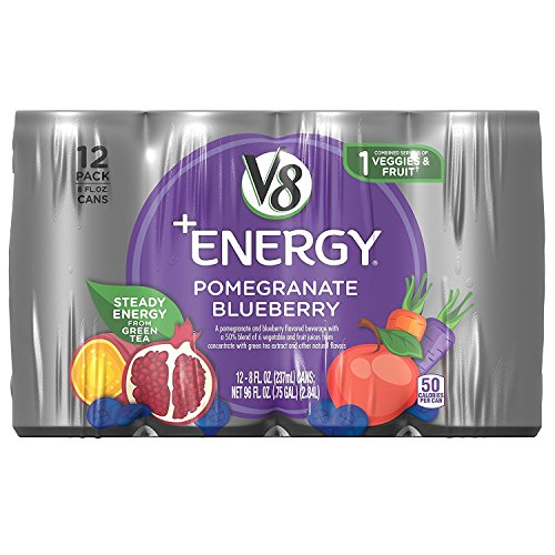 V8 +Energy Healthy Energy Drink, Natural Energy from Tea, Pomegranate Blueberry, 8 Oz Can, 12 Count