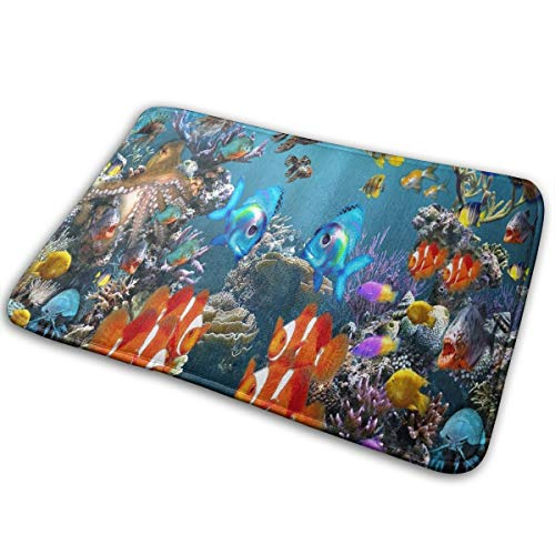 FunnyCustom Doormat Tropical Fish 3D Screensaver Customized Non Slip Water Absorption Floor Mats for Home