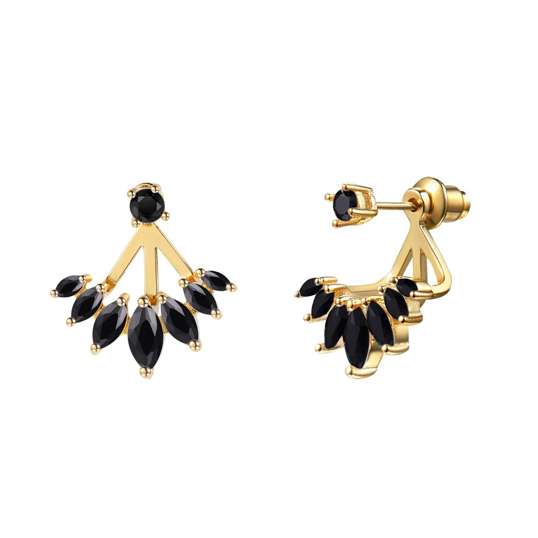 Suplight Black Onyx Ear Jacket Stud Earrings Gold Plated Cubic Zirconia Water Drop Earrings Women/Girls