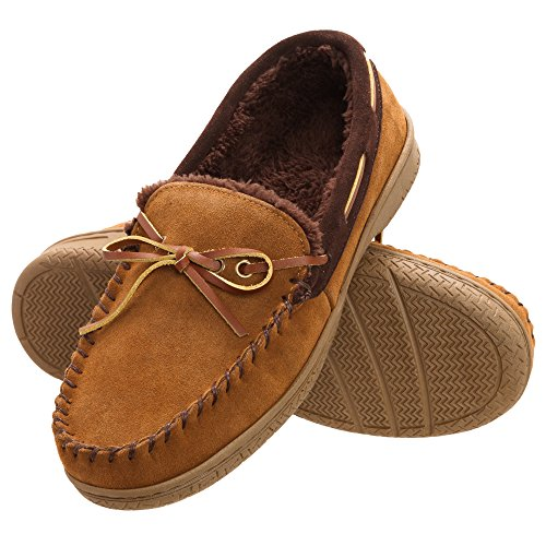 - Heat Edge Men's Memory Foam Suede Slip On Indoor/Outdoor Moccasin Slipper Shoe (13, Tan)