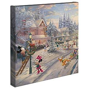 Thomas Kinkade Studios Mickey's Victorian Christmas 14″ x 14″ Gallery Wrapped Canvas