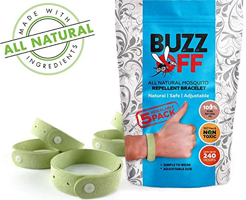 BuzzOff 100% Natural Mosquito Repellent Bracelets Five (5) Pack - Deet Free - Guaranteed to Work - Fast, Easy...