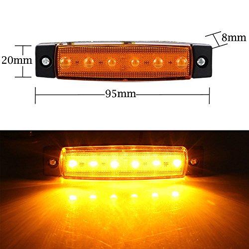 "20 Pcs 3.8/"" 6LED Amber Side Marker Indicators Light For Truck Bus Boat Trailer"