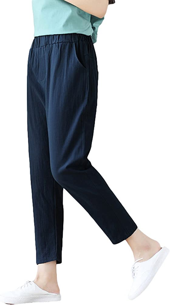 Tookang Mujeres Sólido Pantalones Harem de Cintura Elástica de Lino Yoga Fitness Delgado Tamaño Grande para Vida Cotidiana Casual Simple