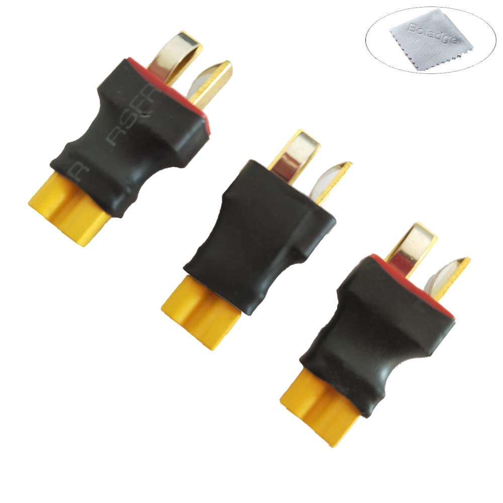 Boladge 3 Piezas Adaptador de Conector Macho Enchufe Deans T a Conector Hembra Enchufe XT30 para bater/ía RC Lipo
