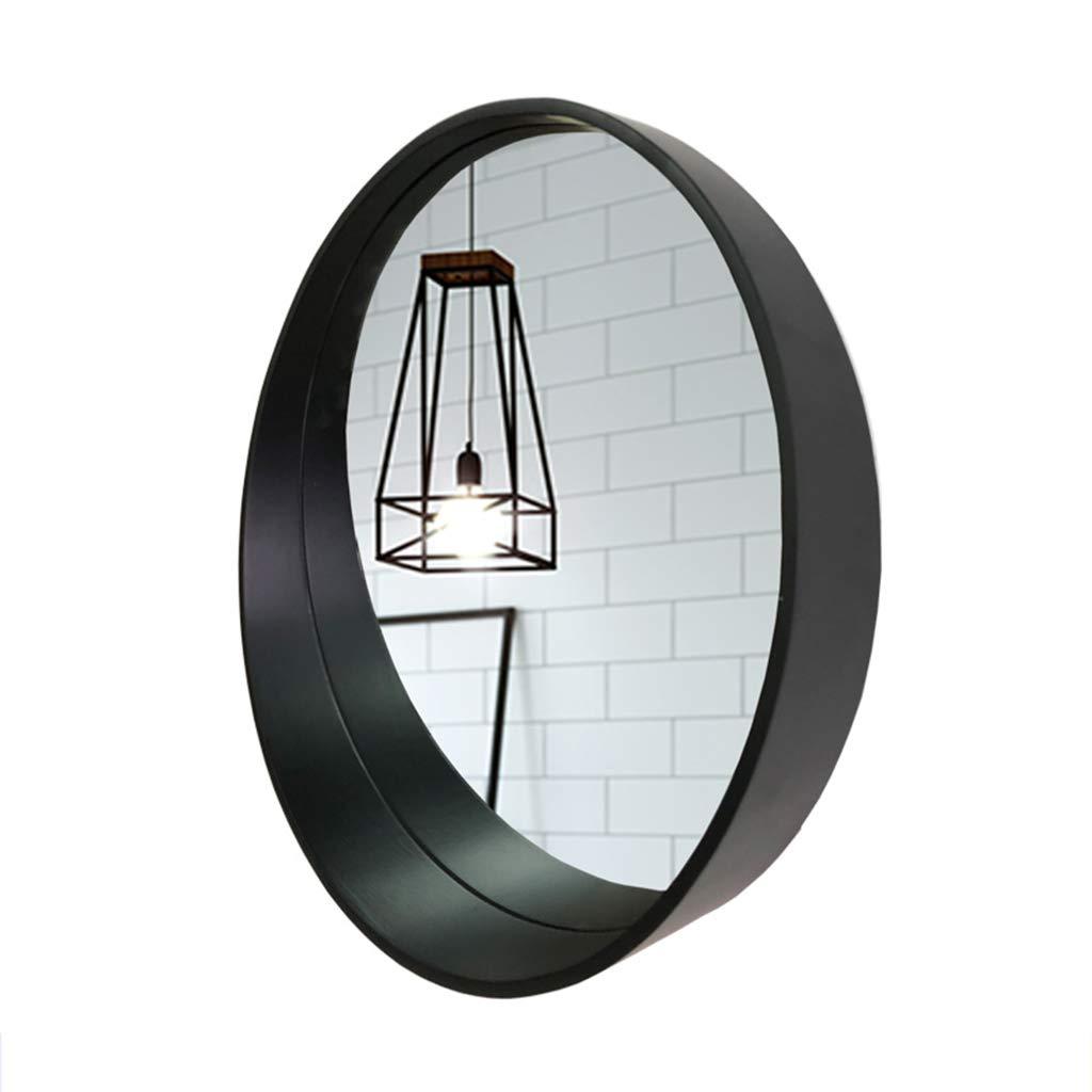 HGXC Wall-Mounted Mirror Nordic Bathroom Waterproof Round Vanity Mirror 4 Colors 3 Size Mirror (Color : Black, Size : 50cm)