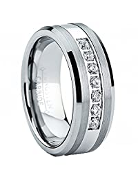 Tungsten Carbide Men's Engagement Wedding Band Ring with Stainless Steel Center,Cubic Zirconia 8mm, Sizes 7 to 13