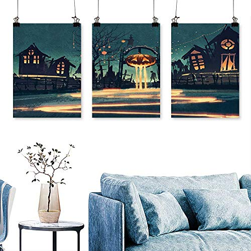 SCOCICI1588 3 Panels Triptych Halloween Theme Night Pumpkin and Haunted House Ghost Town Artful Art Home Decor No Frame 12 INCH X 16 INCH X 3PCS ()