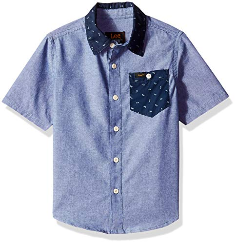 Drees Up Boys (LEE Boys' Little Short Sleeve Button Up Shirt, Blue,)