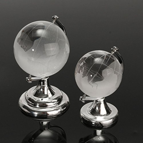 Globe Shape Paperweight - Crystal Glass Frosted World Globe Paperweight Desk Decoration (Random: Size)