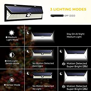 Litom Super Bright Solar Lights 102 LED Solar Power Outdoor Motion Sensor Light With LED on Both Side 4 Pack