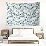 alisos Koi Fish,Cute Tapestry Cute Regular Different Sized Japanese Koi Fish Patterns Ocean Marine Underwater Theme 60W x 51L inch 3D Nature Wall Hanging Teal