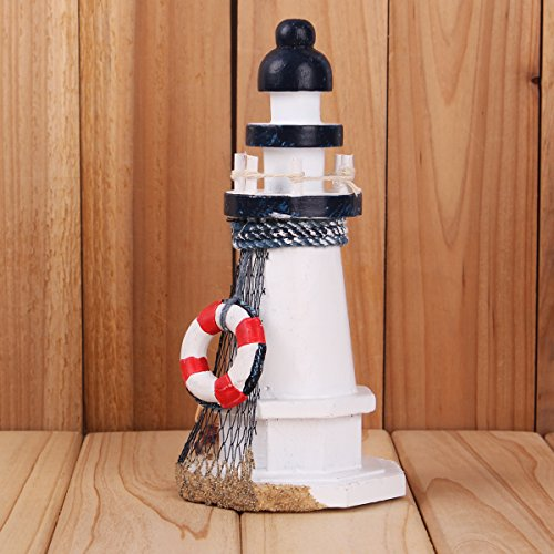 Yesurprise Lifebuoy& Starfish Fishnet&Shell Wooden Lighthouse Watchtower Home Décor Lantern Openwork Nautical Gifts for Kids Living Room Kitchen Desk Table Mediterranean Style Ocean Sea Beach Decor
