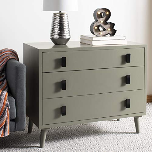 Safavieh CHS6601A Home Collection Blaize Dark Grey and Black 3 Chest of Drawers,