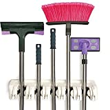 ESANDA Mop and Broom Holder, 5 Position, 6 Hooks Broom Storage Organizer, Wall Mounted Garden Tool, Broom Mop Cleaning Tool