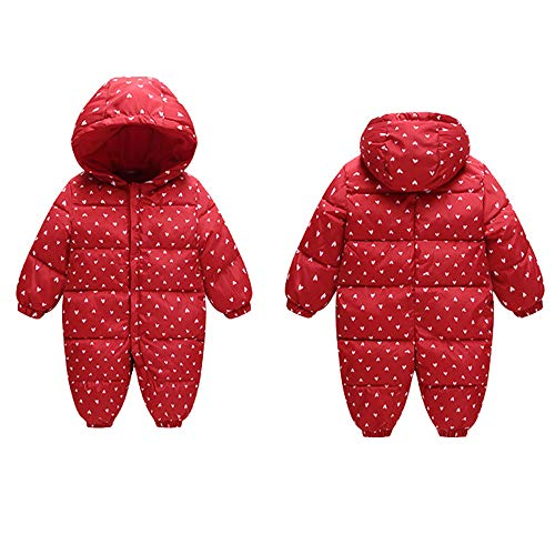 Red Jumpsuit Snowsuit Outwear Hood Girl Winter Thick Romper Warm Infant Baby Fairy Boy nw1qFT716