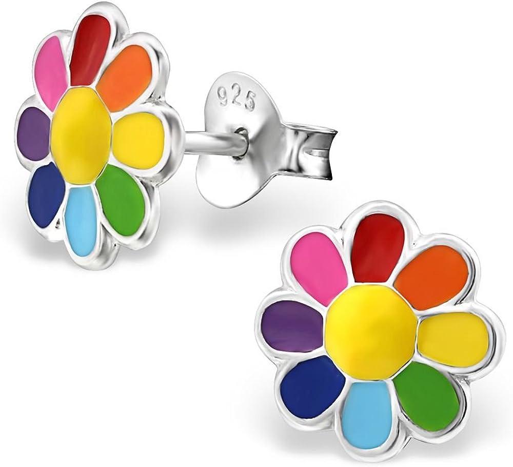 Boucles doreille, bijoux v/éritables Studs Jeunes filles Bungsa/© clous doreille enfants Motif fleurs multicolores en argent sterling .925/