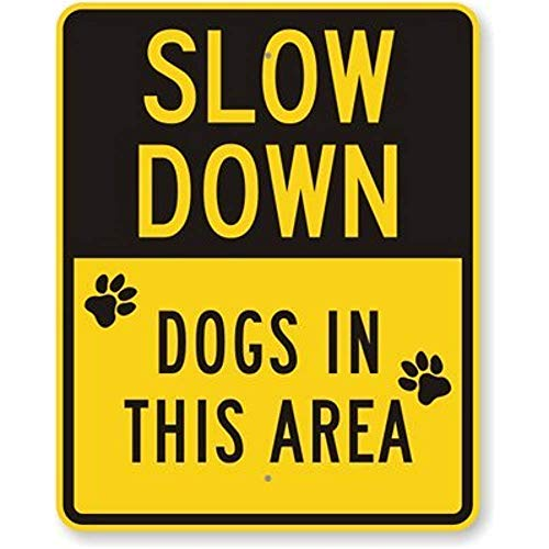 (Jesiceny New Road Sign Slow Down Dogs in The Area, Fluorescent Yellow Diamond Grade Aluminum Metal Tin Sign Street Sign 8x12 INCH)