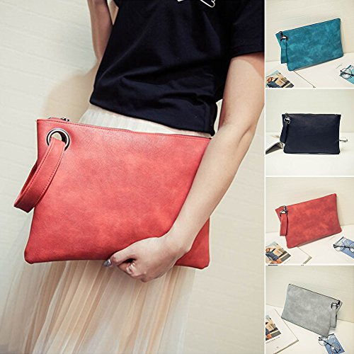 Clutch Shoulder Zipper Watermelon Leather Envelope Wallet Large Pack Purse Capacity Red Document Women Large Messenger Handbag Bag PU aIYqnSxSp